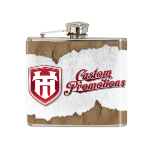 5oz Brushed Stainless Steel Flask : Full Color Decal Wrap